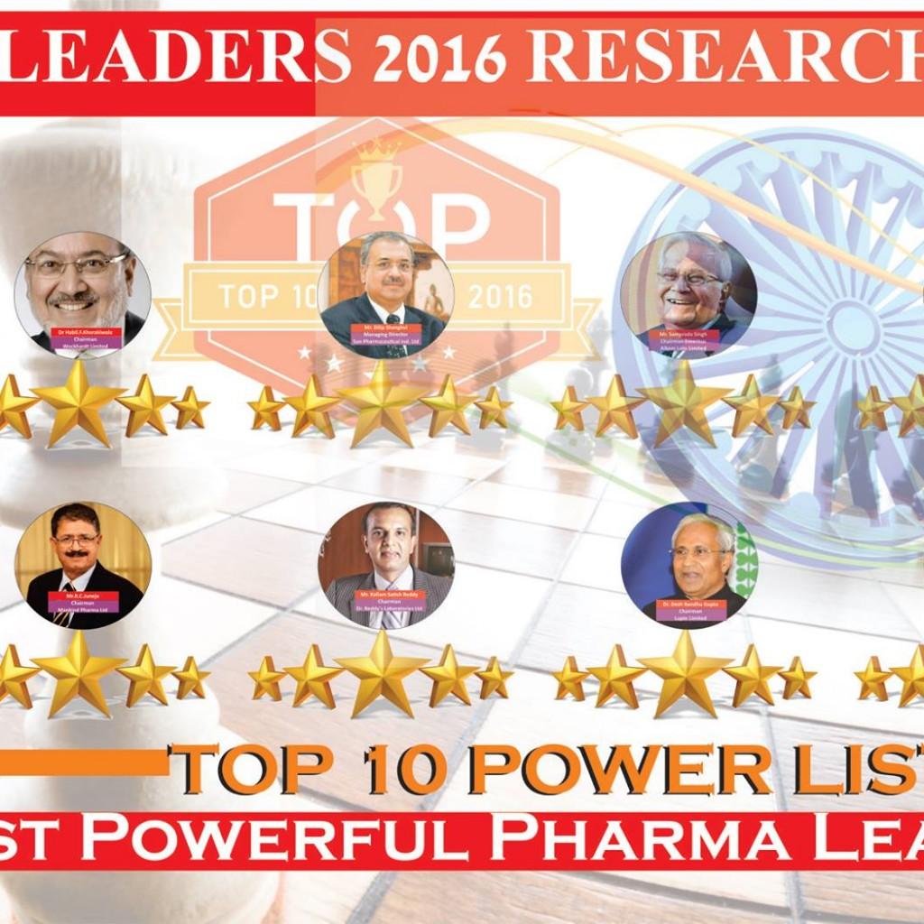 India's Top 10 Powerful Influential Pharma Leaders 2016 List