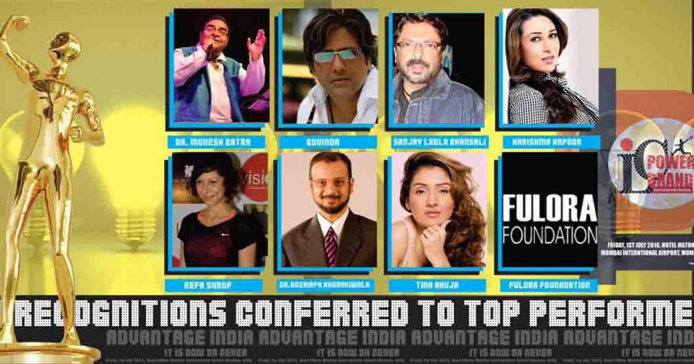 Govinda, Sanjay Leela Bhansali,Karishma Kapoor, Dr. Mukesh Batra,Dr.Huzaifa Khorakiwala,Tina Ahuja, Eefa Sharof, Fulora Foundation among others selected for ILC Power Brand Awards 2016