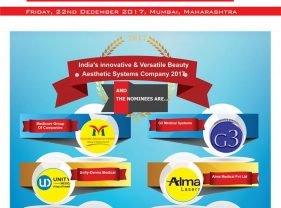 Medicure, Unity-Derma Medical,Spectra Medical, G3 Medical Systems,Alma Medical, Geosmatic Cosmecuticals & Cosmocare  are in race for India's innovative & Versatile Beauty Aesthetic Systems Company 2017